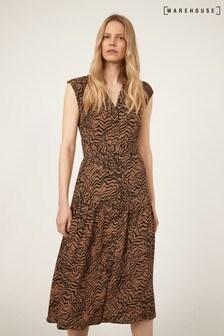 Warehouse Black Razorlight Print Midi Dress