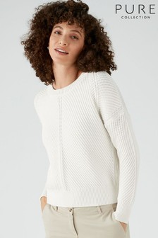 Pure Collection White Cotton Chunky Textured Stitch Sweater