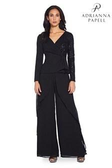 Adrianna Papell Black Chiffon Ruffle Trousers