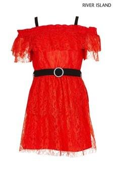 River Island Red Ruffle Smart Bardot Dress
