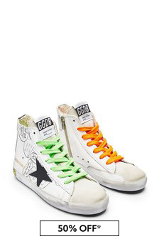 Kids White Leather & Suede High Top Trainers