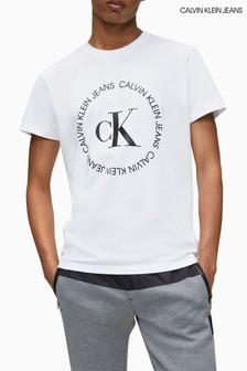 חולצת טי עם לוגו Round של Calvin Klein Jeans בלבן