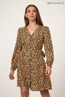 Warehouse Black Livia Daisy Square Neck Dress