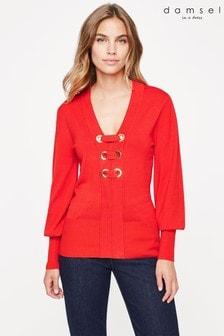 סוודר סרוג עם רינגים של Damsel In A Dress מדגם Jetta בצבע אדום