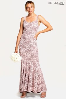 HotSquash Pink Sweetheart Neckline Lace Maxi Dress
