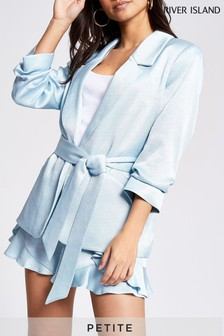 River Island Blue Belted With Channel Blazer