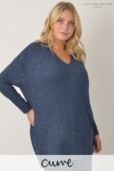 Live Unlimited Curve Navy Loungewear Top