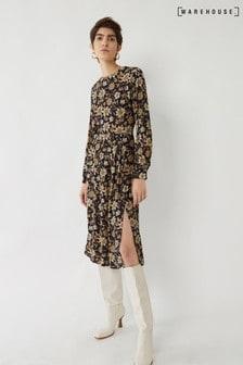 Warehouse Winter Daisy Tiered Midi Dress