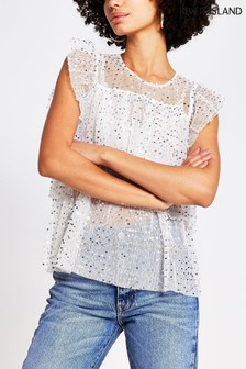 River Island Cream Frill Layered Embroidered Top