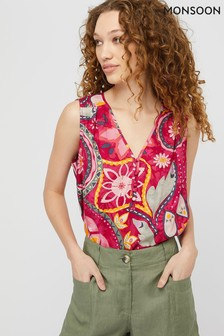 Monsoon Red Rhonda Print Ecovero Tank Vest