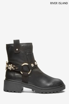 River Island Black Narnia Embellished Strap Boots