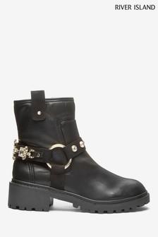 River Island Black Narnia Embellished Strap Boots
