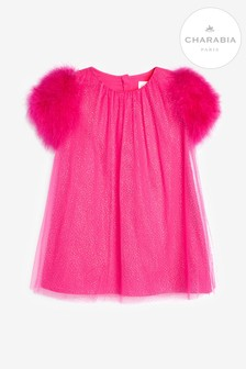 Charabia Fuschia Feather Sparkly Dress