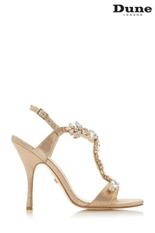 Dune London Gold Mistque Fabric Embellished Open Toe Stiletto Heels