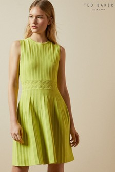 Ted Baker Green Balieey Sleeveless Knitted Skater Dress