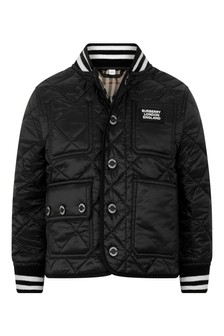 Girls Black Quilted Jacket