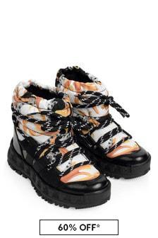 Versace Kids Black, White & Gold Snow Boots