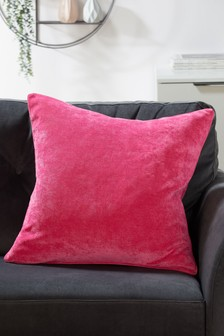 Fuchsia Soft Velour Large Square Cushion