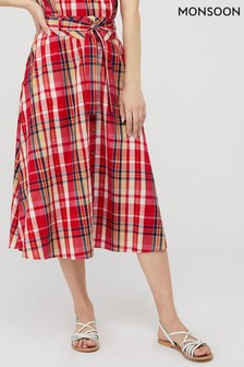Monsoon Red Nila Check Organic Cotton Midi Skirt