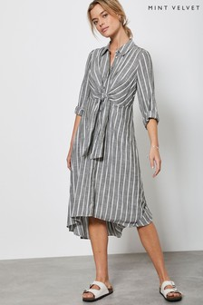Mint Velvet Green/Grey Striped Knot Shirt Dress