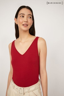 Warehouse Red Casual V-Neck Vest