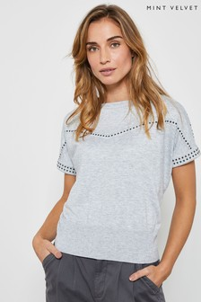 Mint Velvet Grey Studded Short Sleeve Jumper