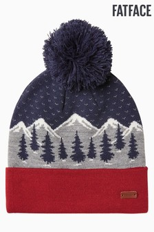 FatFace Red Snow Scene Beanie