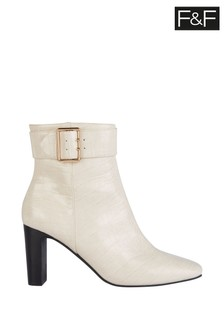 F&F Neutral Buttermilk Croc Buckle Boots