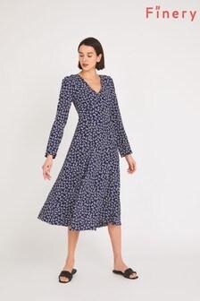 Finery Blue Molly Leaf Print Midi Dress