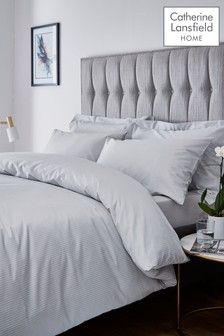 Satin Stripe Duvet Cover and Pillowcase Set by Catherine Lansfield