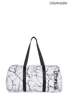 Calvin Klein White Marble Print Packable Duffle Bag