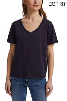 Esprit Blue V-Neck Organic Cotton T-Shirt