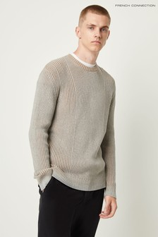 French Connection Grey Cotton Plaited Jumper