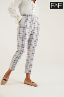 F&F Navy/Yellow Check Trousers