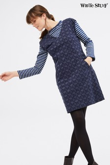 White Stuff Blue Embroidered Cord Pinny Dress