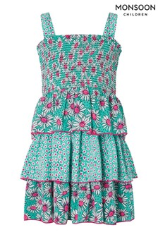 Monsoon Green Daisy Print Tiered Dress