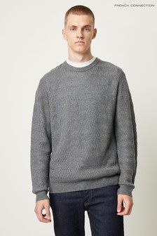 French Connection Grey Cashmere Blend Texture Jumper