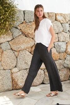 Next Women`s Ladies Brown Wide Leg Trousers Size 14,18