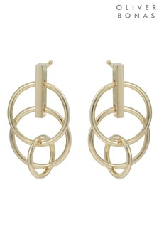 Oliver Bonas Mini Interlink Circles Gold Plated Earrings