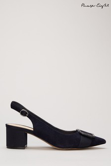 Phase Eight Blue Gilly Block Heel Court Shoes