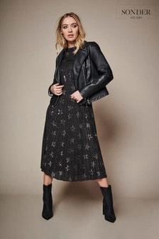 Sonder Studio Black Pleated Star Midi Dress