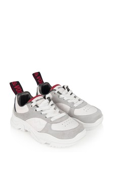 Girls White Leather Trainers