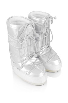 Girls Pearl White Vinyl Snow Boots