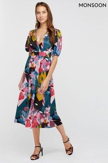 Monsoon Teal Rhi Rhi Print Tea Dress