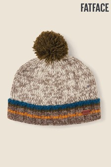 FatFace Natural Stripe Turn-Up Beanie