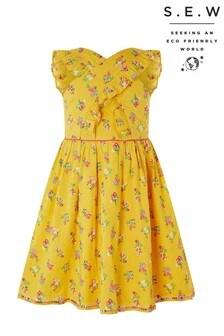 Monsoon Yellow S.E.W Grace Cross Front Dress