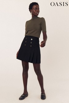 Oasis Black Solid Kilt