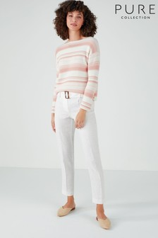 Pure Collection White Laundered Linen Belted Trousers