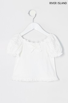 River Island White Jersey Broderie Milkmaid Top