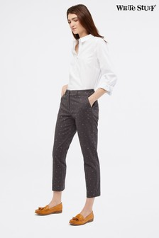 White Stuff Grey Printed Sussex 7/8 Trousers